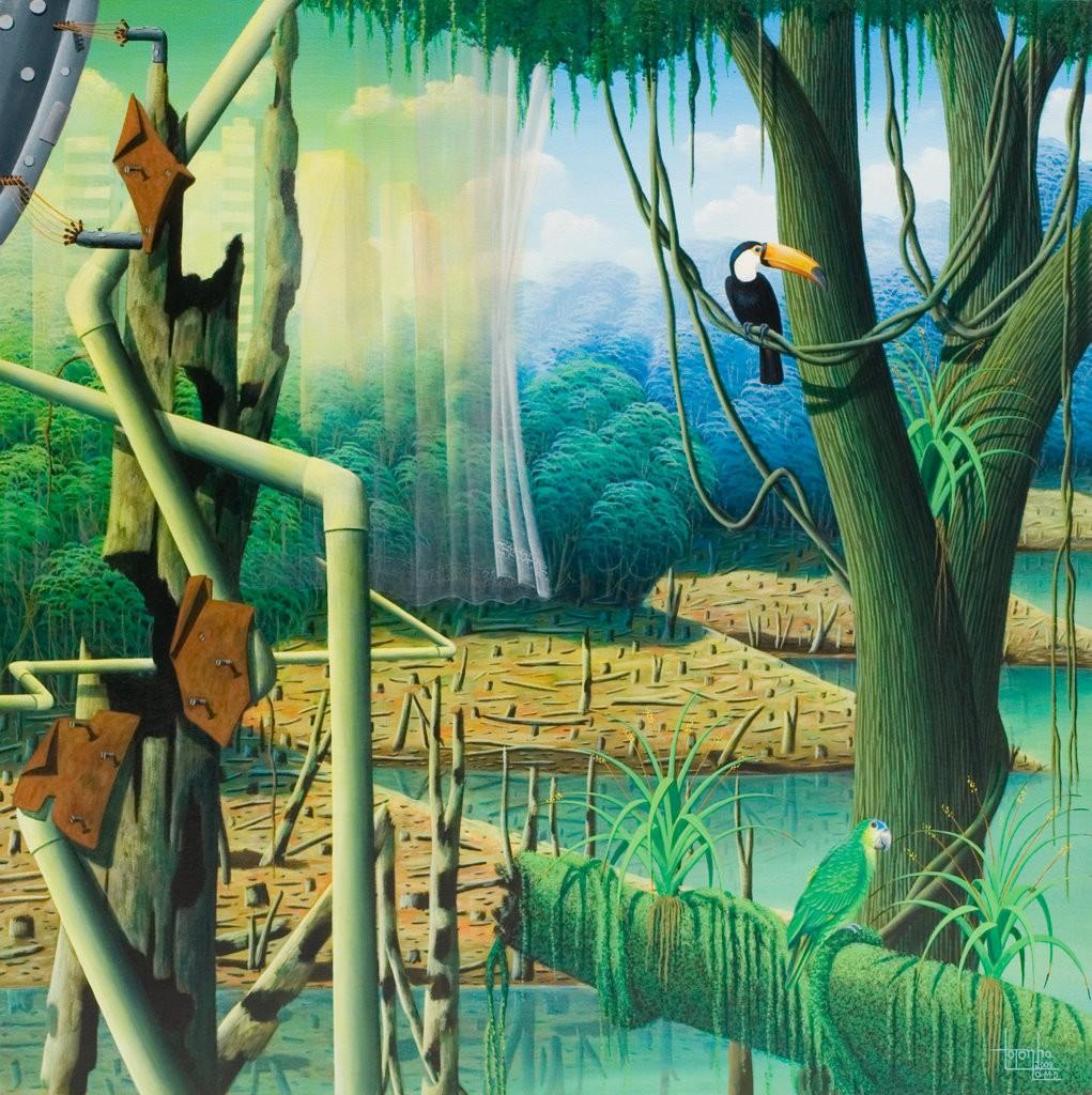 surrealistic painting, tucan, parrot, rainforest