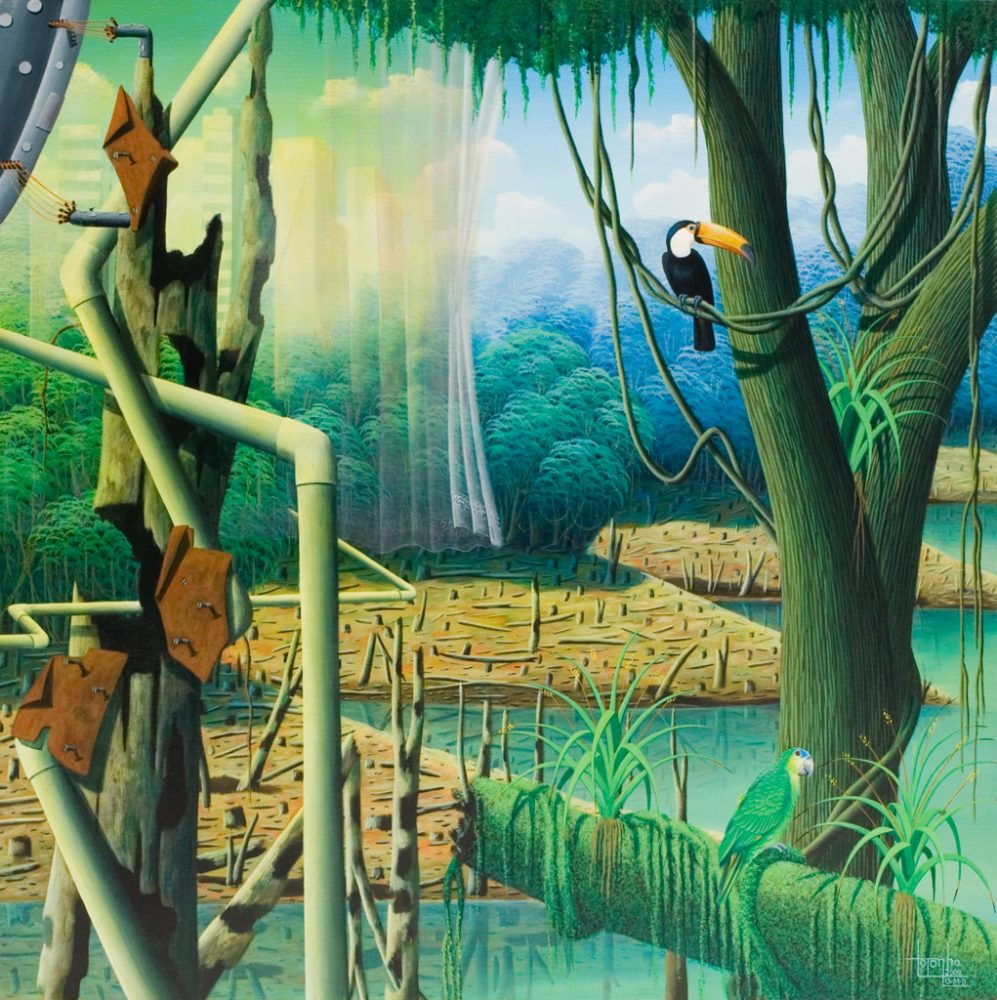 tucan, forest, surreal, sureeal painting, painting by Totonho