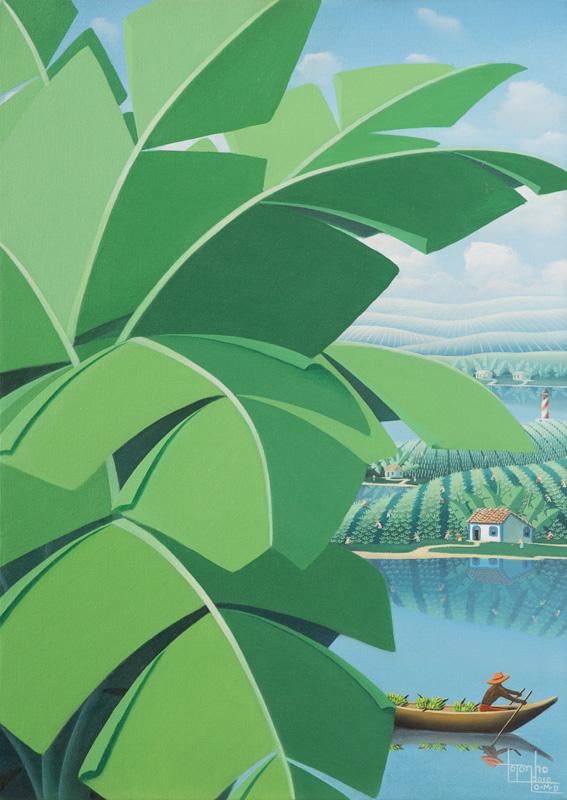 banana tree, bananeira, banana, canoe, brazilian, landscape
