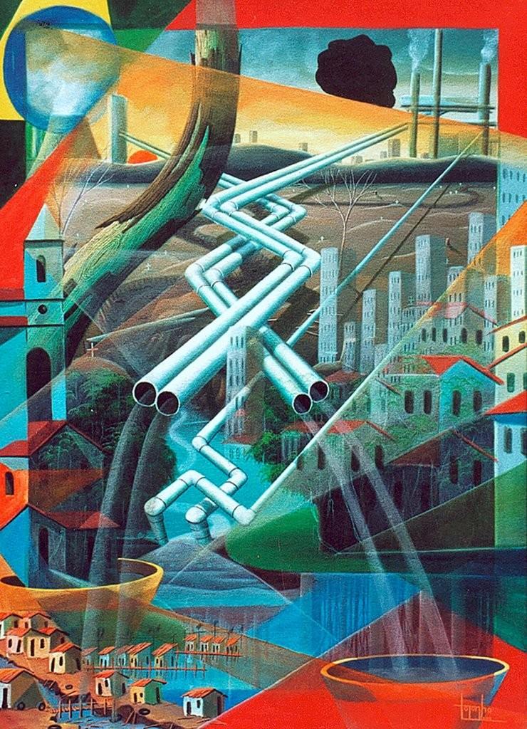 surrealistic painting, buildings, slums