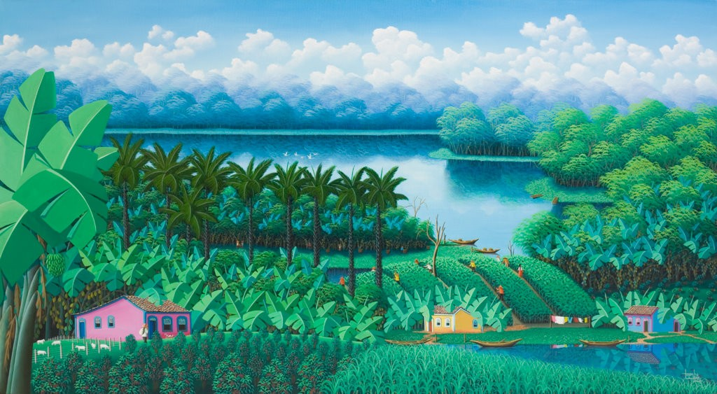 painting north east Brazil, coconut trees and nature