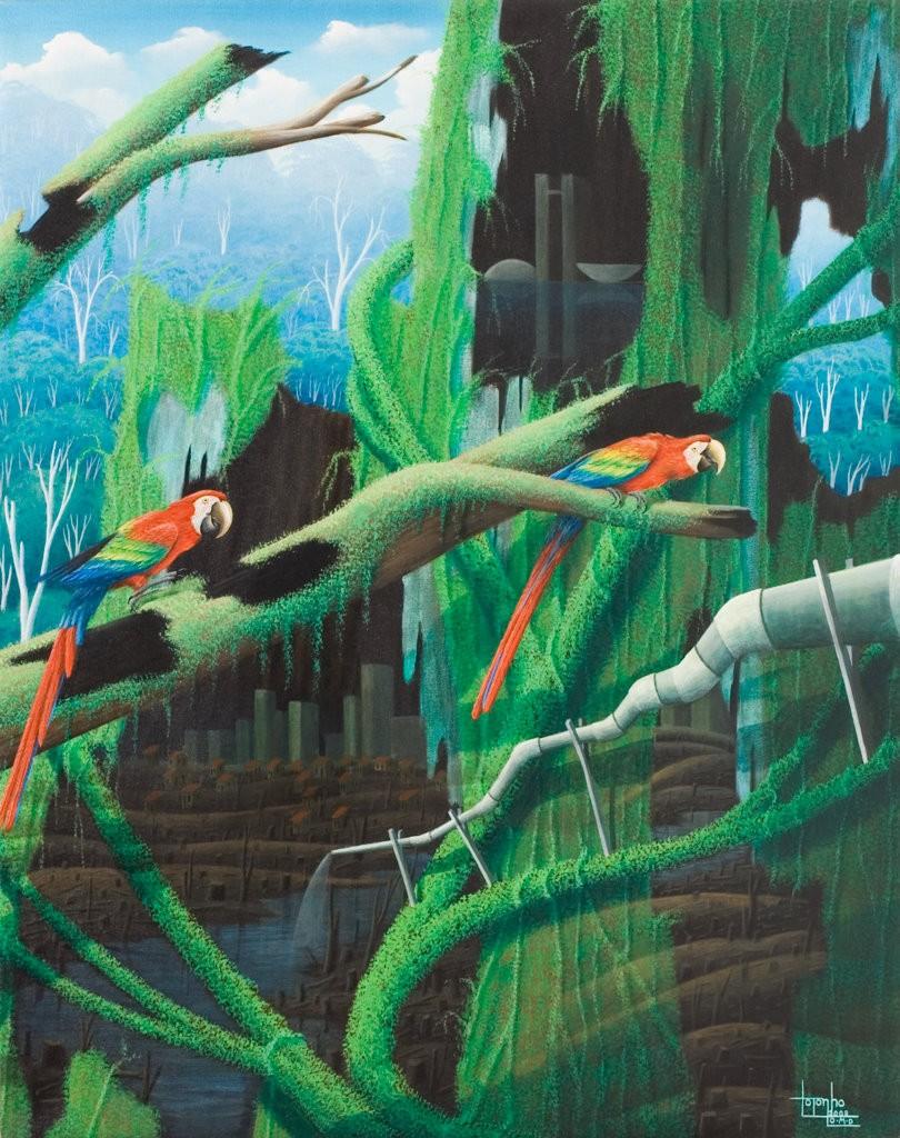 parrots, surreal landscape