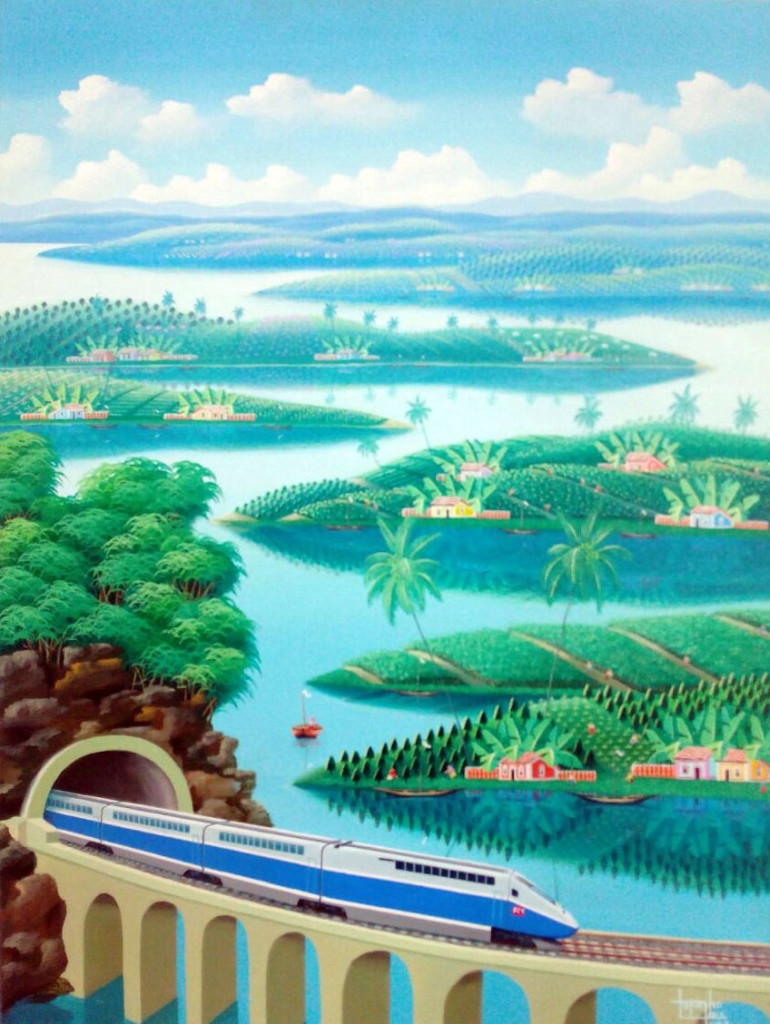 painting of train, trem countrside