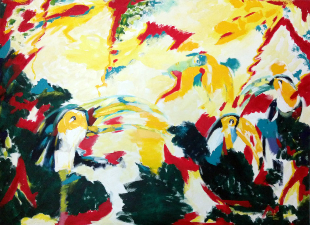 tucans, abstract painting, Totonho