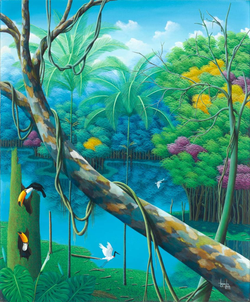 fine-art print with trees and tucans by Totonho