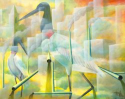 fine art print birds and pollution by Totonho