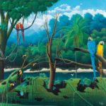 fine-art print with parrots and forest by Totonho