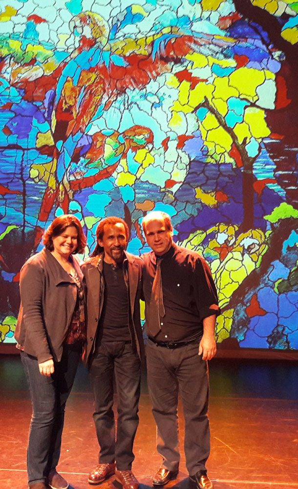 Brazilian painter Totonho with guitarist Nelson Faria and his wfe Andrea