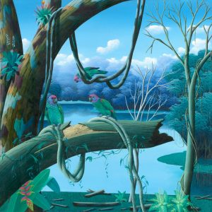 parrots, blue parrots, tropical birds, jungle, arara, azul, painting by Totonho