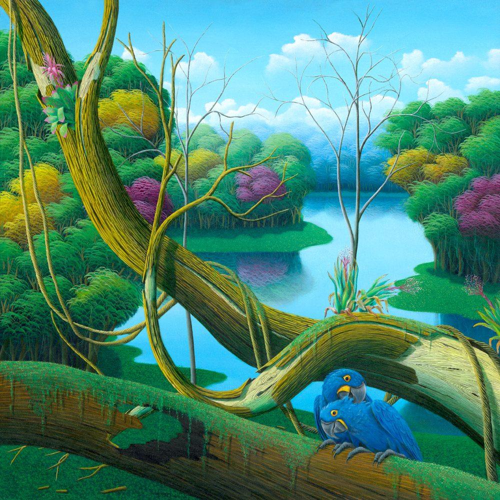 jungle, Brazilian landscape, blue parrots, parrot, colorful, painting by Totonho