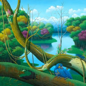 jungle, brazilian landscape, blue parrots, parrot, colorful, painting by Totonho