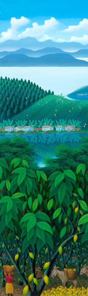 Brazilian landscape, cacao trees and painting by Totonho