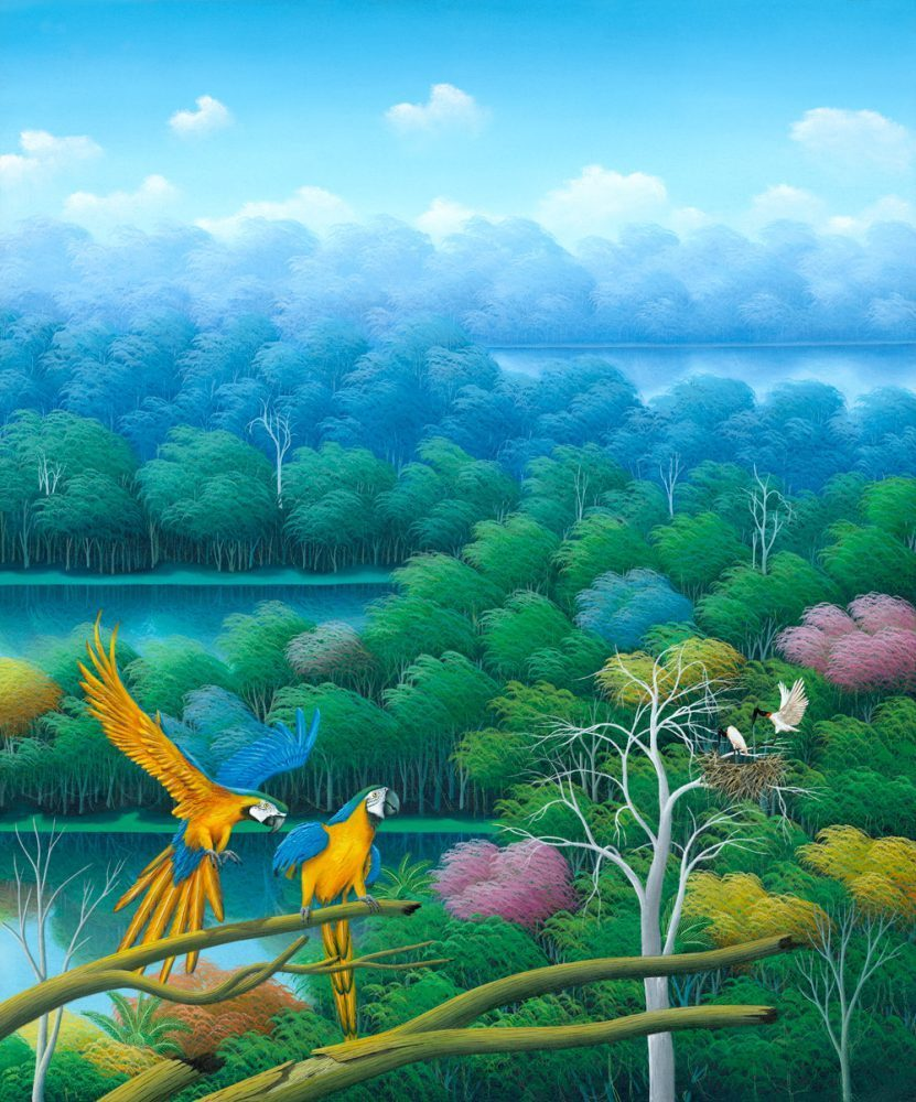 parrots, birds, tropical birds, tropical forest, jungle, painting by Totonho