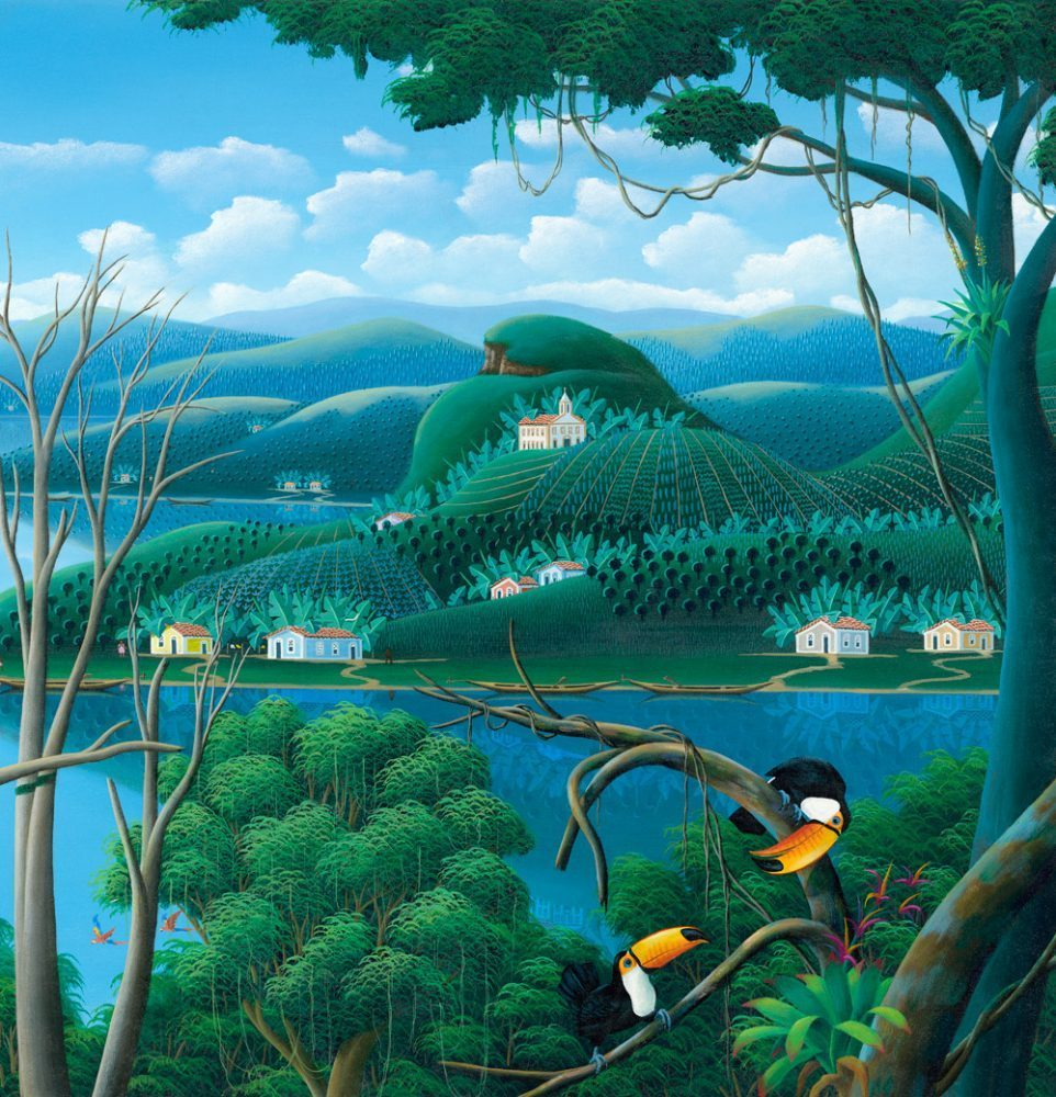 tucans, Brazilian landscape, painting by Totonho