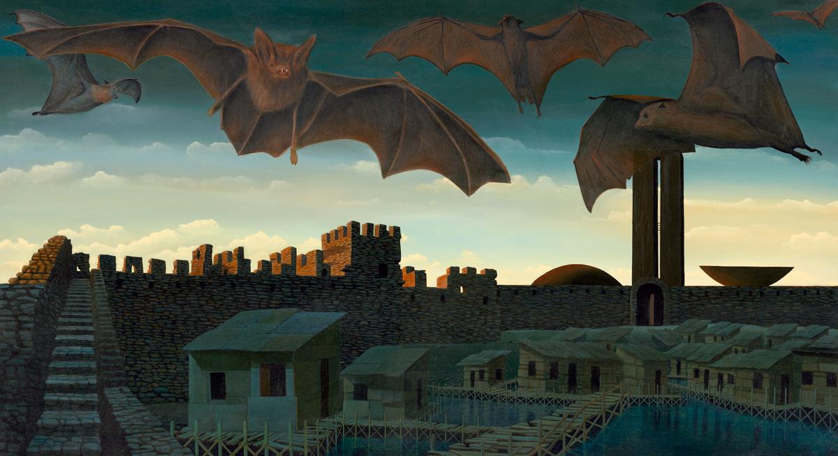 bats, castle,dark sky, brasilia, houses, alagados, painting by Totonho