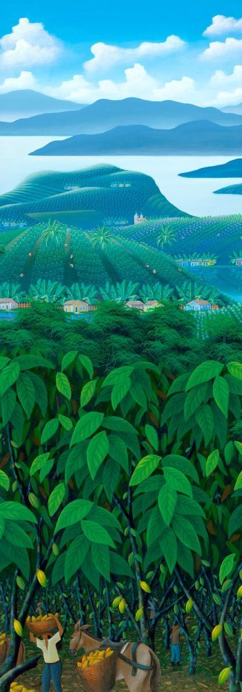 cacao plantation, brazilian landscape, cacao, chocolate, farmers, colorful, painting by Totonho