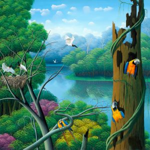 rain forest, parrots, tropical birds, Brazilian landscape, arara, flresta