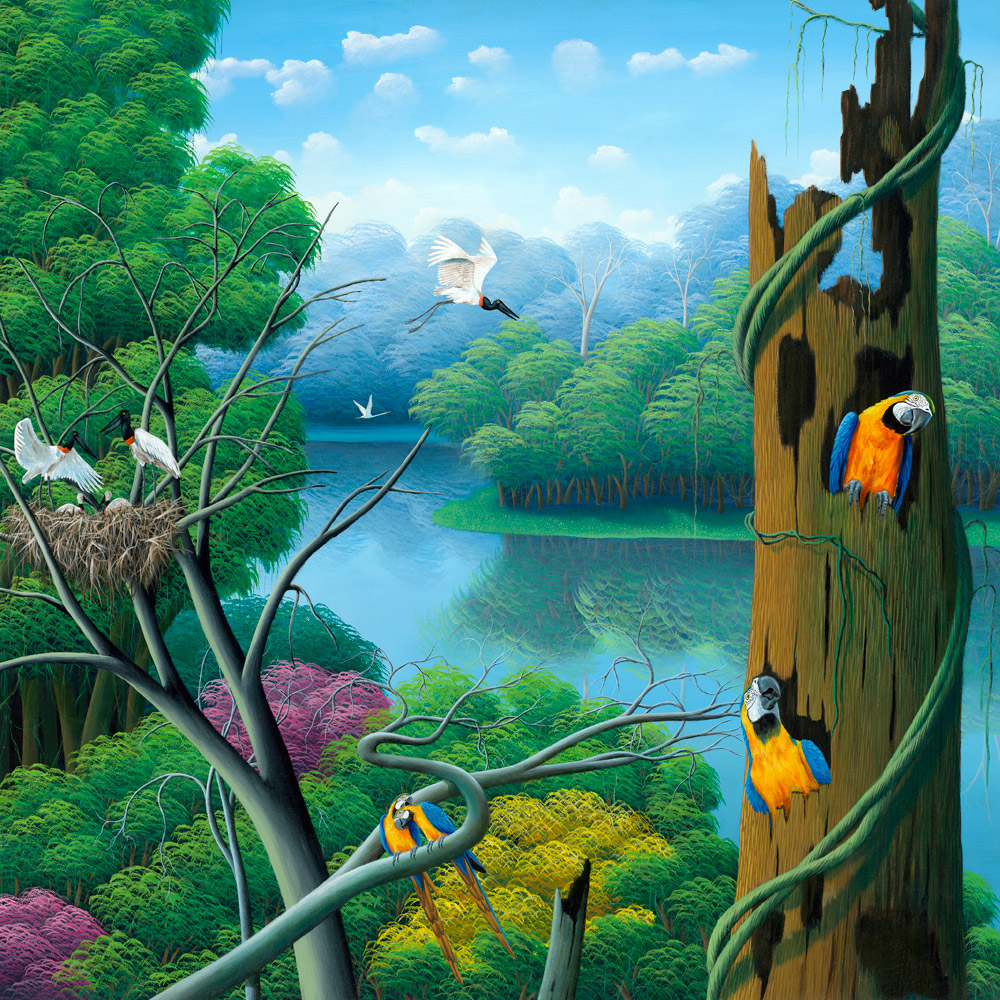 rain forest, parrots, tropical birds, Brazilian landscape, arara, floresta, painting by Totonho