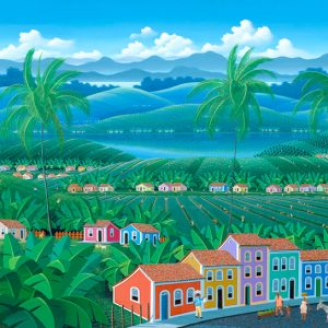 Brazilian village, landscape, trapocal landscape, colored houses, palmtrees, colorful, painting by Totonho