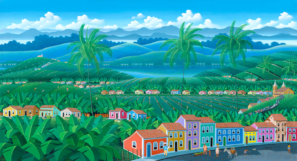 Brazilian village, landscape, tropical landscape, colored houses, palmtrees, colorful, painting by Totonho
