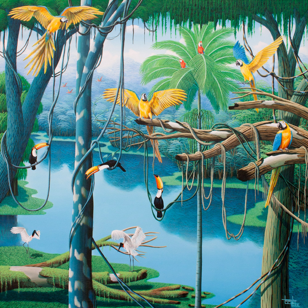 tropical forest, parrots, tucan, birds, colorful, jungle, brazilian, painting by Totonho