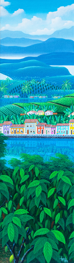 Brazilian landscape, Bahia, church, houses, colored houses, river, tropical, colorful, painting by Totonho