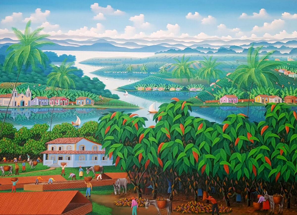 Brazil, cocoa farm, tropical landscape, green, blue, red
