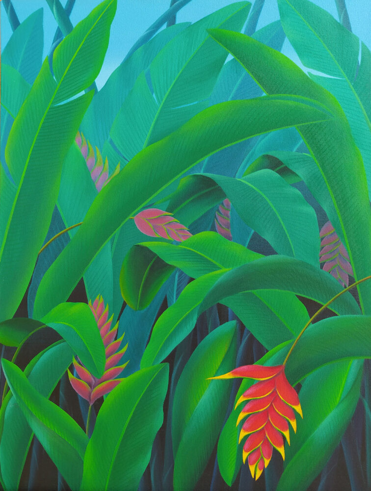 green leaves, red flowers, tropical plants