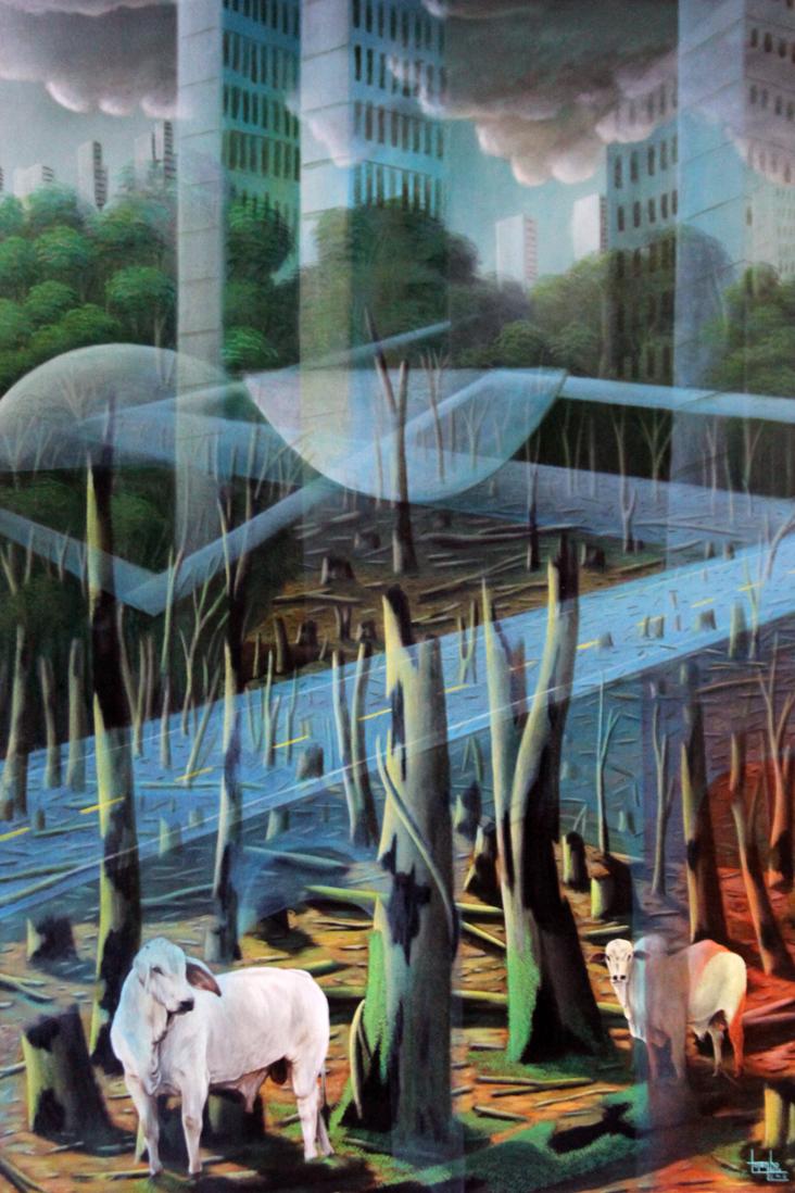 painting cowa, trees, Brazilian parliament, surrealistic